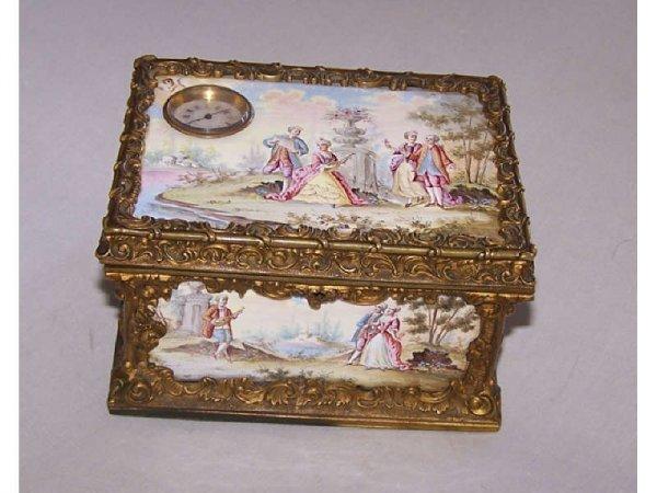25: Rare Austrian Porcelain Cigarette Box with Bronze