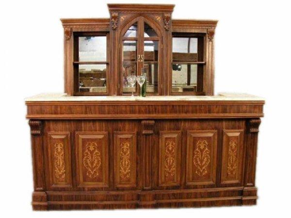 606: Inlaid Sheraton Style LARGE Back Bar and Bar