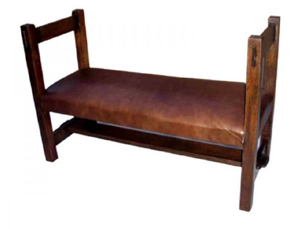 2077: Mission Oak Style Leather Covered Bench