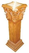2080: Hand Carved Wooden Pedestal with Marble