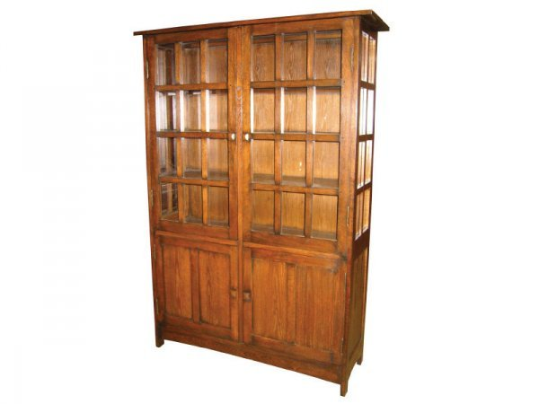 2081: Mission Oak Style 4 Door China Cabinet