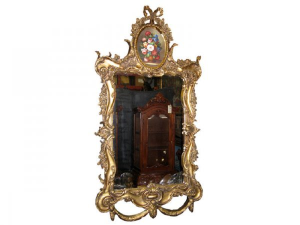 2083: Gilt Framed Large Mirror with Oil Painting