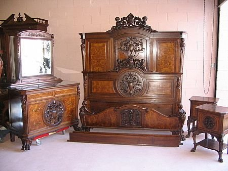 2340: Stunning Carved Figural Mixed Woods Bedroom Set