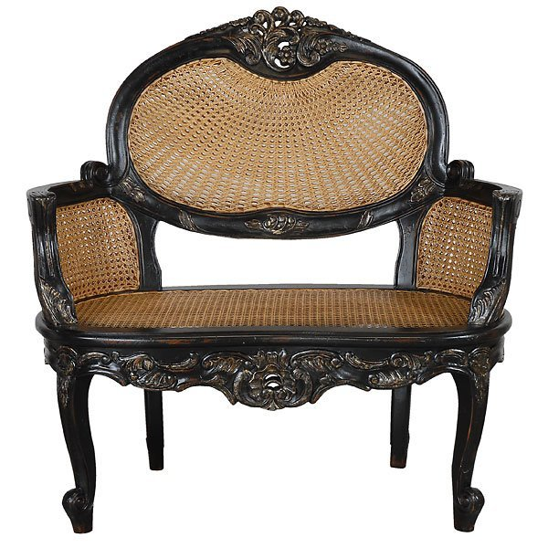 3000: Fine Heavy Carved Cane Seat Bench
