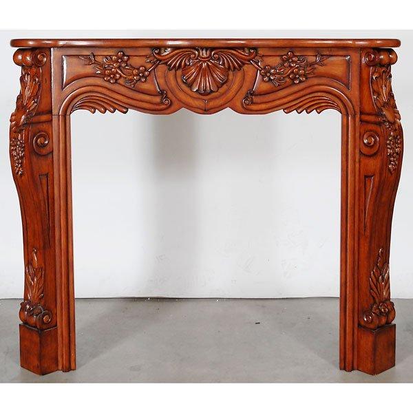 3007: Mahogany Heavy Carved Fireplace Mantel