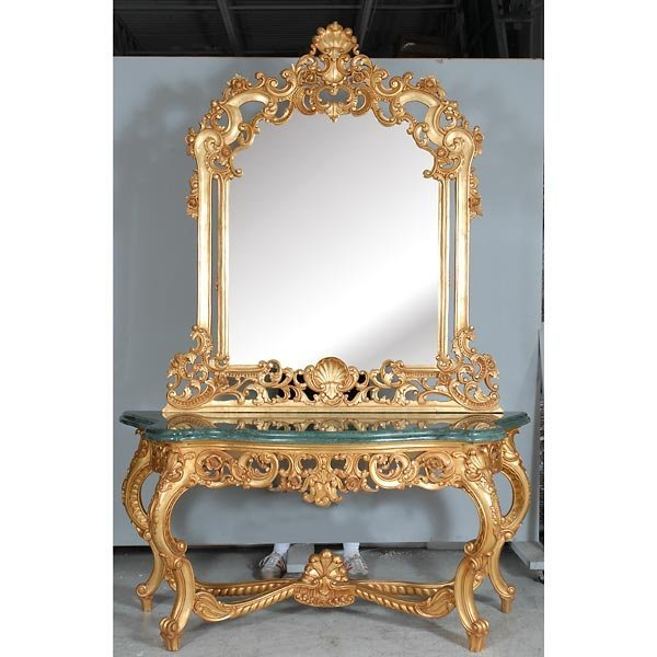 3008: Heavy Carved Giltwood Marbletop Console