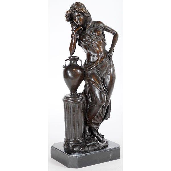 3015: Tall Bronze Figural Female with Urn