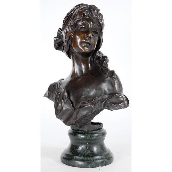 3016: Fine Bronze Art Nouveau Bust on Marble
