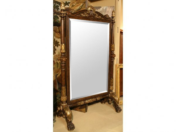 3055: Monumental Mahogany Cheval Mirror