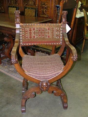 6006: Antique French Oak Lion U SHape Chair