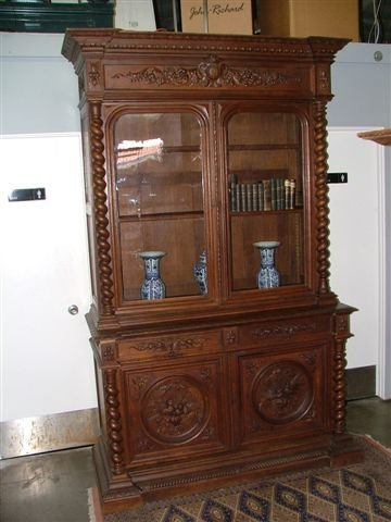 6012: 1890s Oak Hand Carved Bookcase