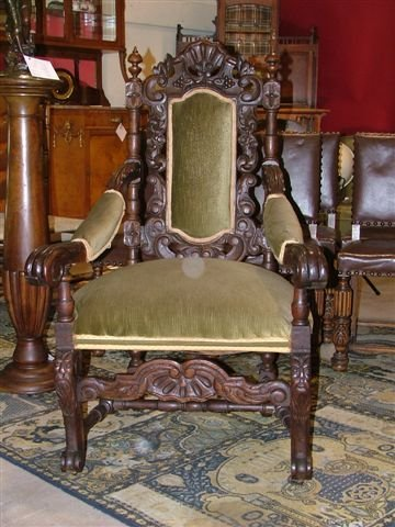 6013: A Good Heavy Carved Grand Entry Chair