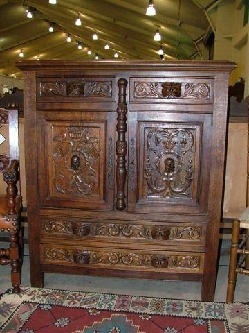 6014: Hand Carved Spanish Oak Cabinet
