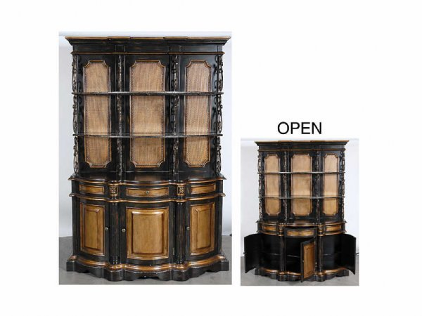 6015: Ebony and Gilded Bowed Front Cabinet