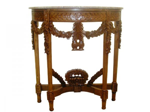 1: Fine Classical Swag Demi Lune Entry Table