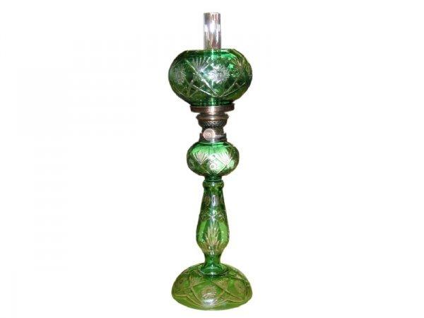2: Fine Emerald Green Cut Back Oil Lamp