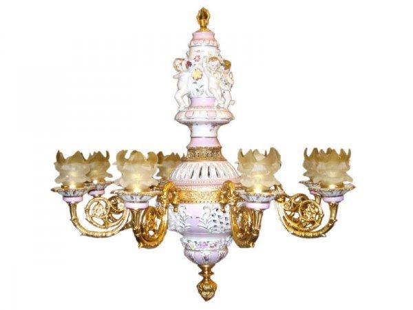 6: Stunning Dore Bronze Cherub Porcelain Chandelier