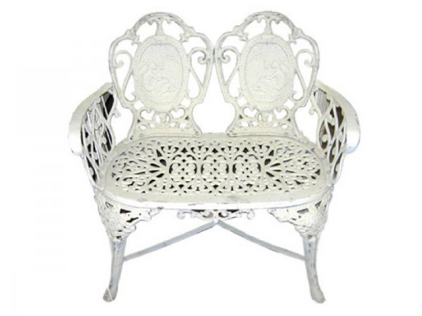 10: Casted Iron White Victorian Style Bench