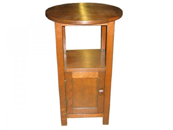 11: Mission Oak Round Top Smokers Stand