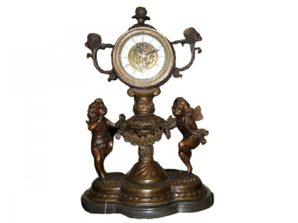 12: Large Bronze Cherub Figural Key Wind Clock