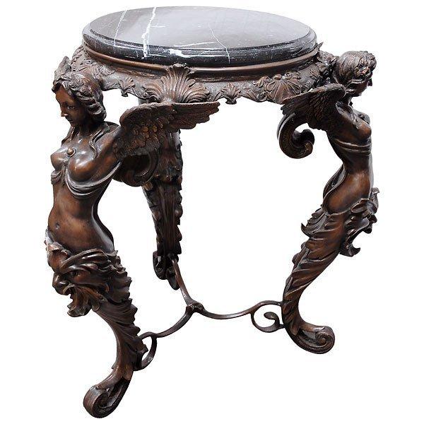 41: Fine Bronze Caryatid Marble Top Table