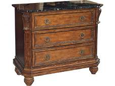 108: Fine Granite Top Carved Chest of Drawers