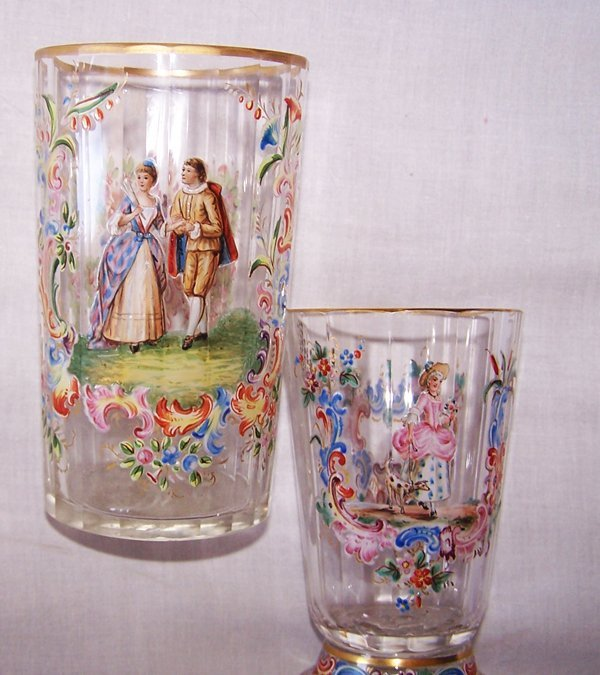 1A: Enameled Lobmeyer Glasses Ca. 1880s