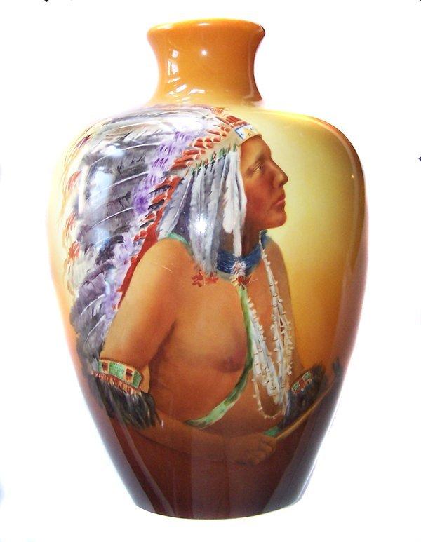 4A: Monumental American Belleek Indian Painted Vase