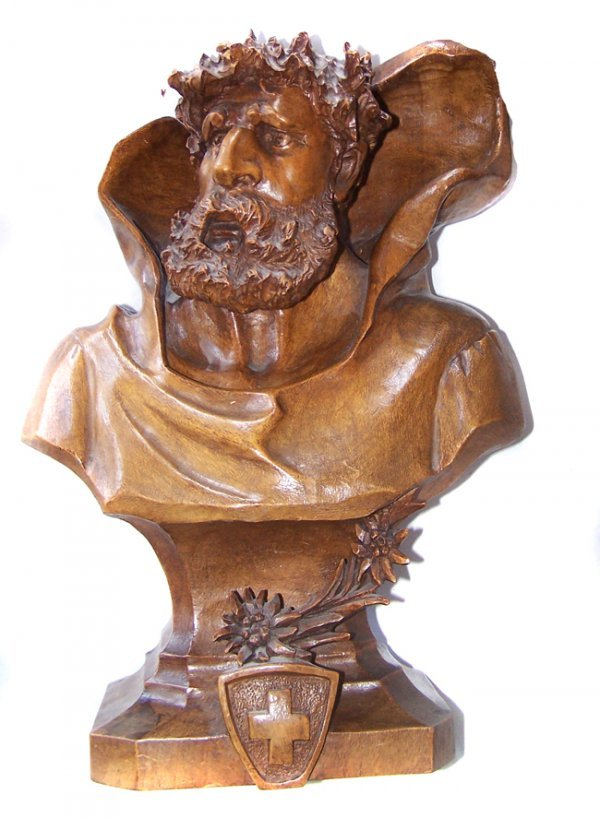 10A: Hand Carved Wooden William Tell Bust