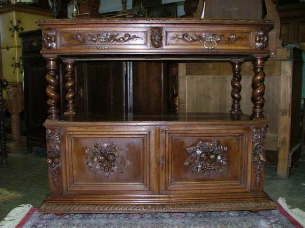 304: French Walnut Desert Buffet with Marble