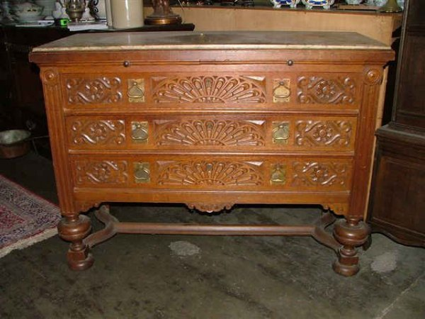 306: Fine Heavy Carved  Spanish Chest with Marbletop
