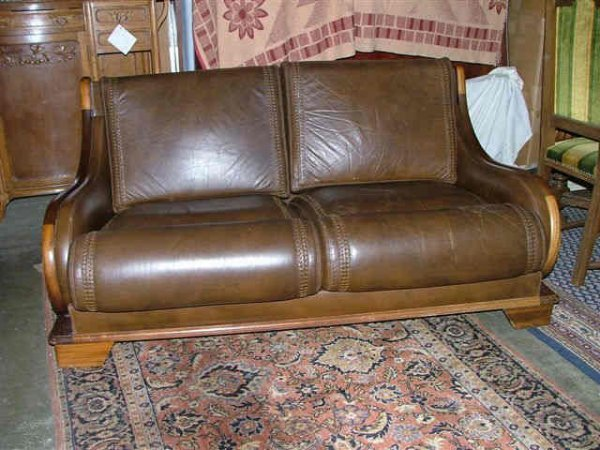 308: Brown Leather Art Deco Sofa