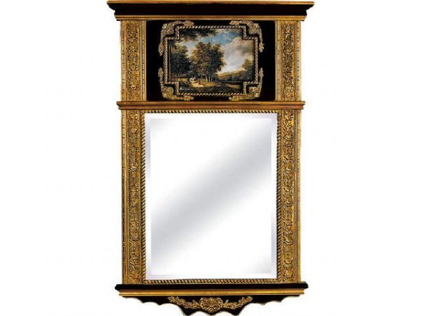 311: Hand Painted Trumeau Mirror