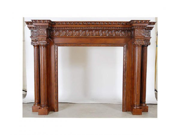 324: Fine Hand Carved Mahogany Fireplace Mantel