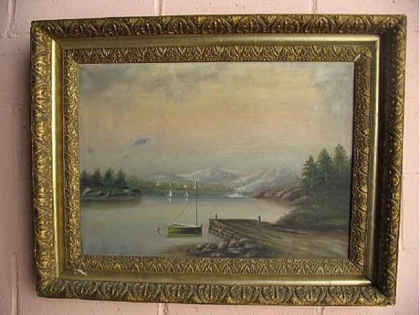 5004: Excellent Antique Oil Painting Lake Scene
