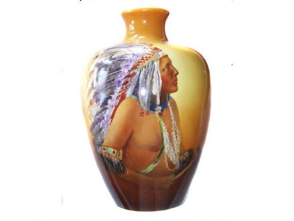 5012: American Belleek Monumental Indian Portrait Vase
