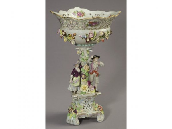 5019: Fine Dresden Porcelain Nude Raised Compote