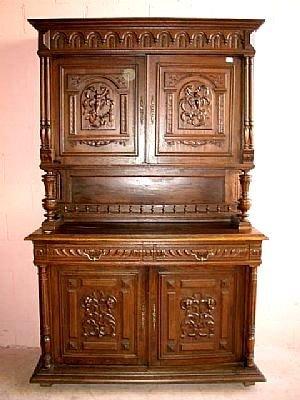5020: Fine French Walnut Heavy Relief Cabinet
