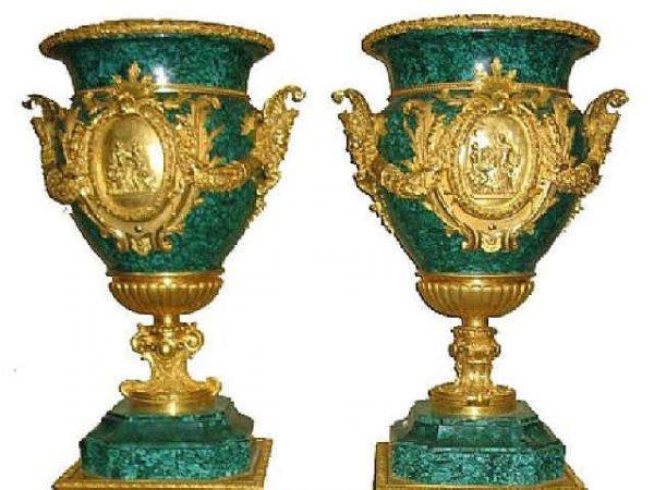 7007: Fine Dore Bronze and Malachite Urns