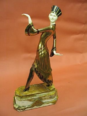 7009: Fine Art Deco Bronze with Ivory Egyptian Revival