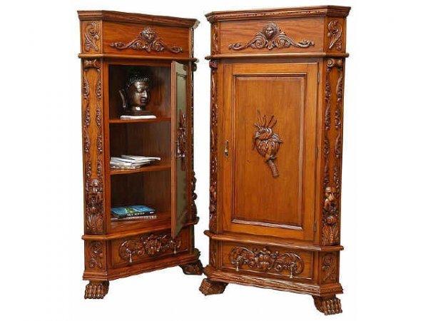 7015: Heavy Carved Fancy Mahogany Corner Cabinet