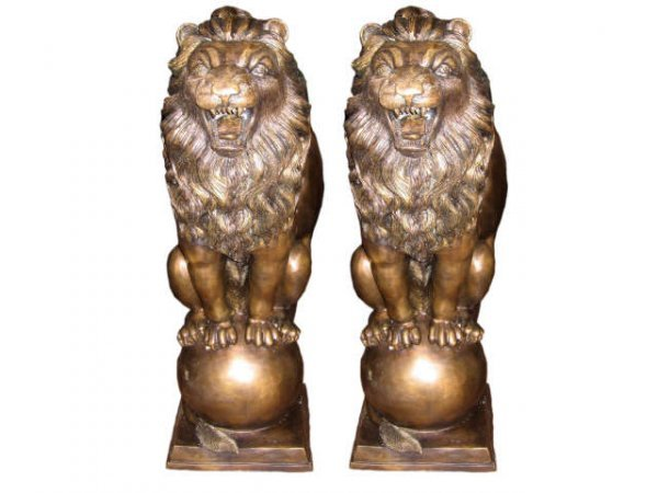 7019: Pair of Large Bronze Lions