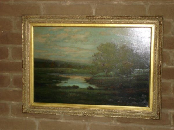 1005: Turn of the century oil landscape painting