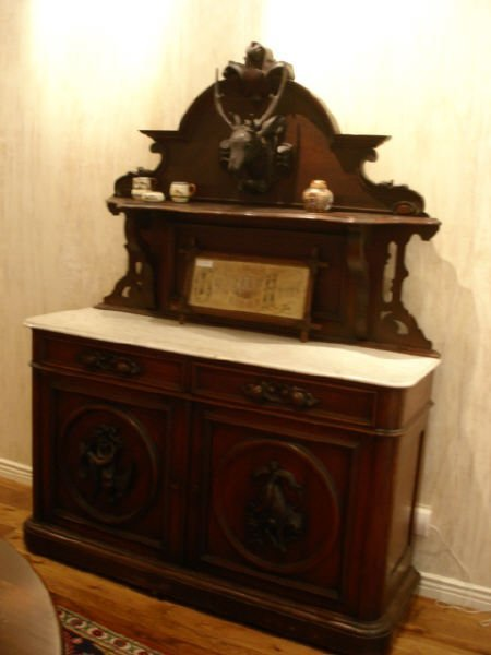 1008: 1860s beautiful carved marble top sideboard