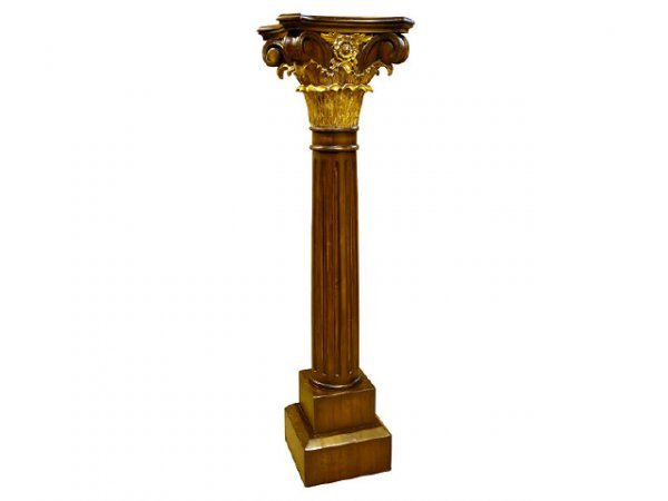 7177: Fine Solid Hand Carved Mahogany Pedestal