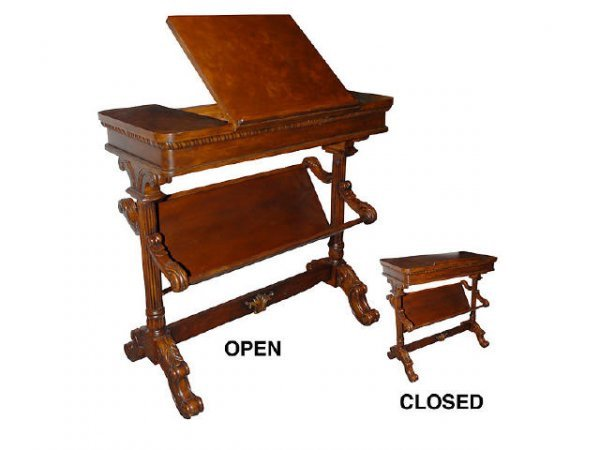 7178: Very Fine Hand Carved Mahogany Bookstand