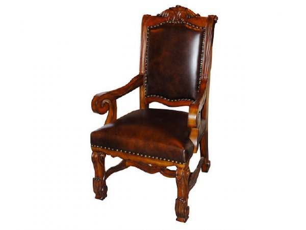 7179: Large Mahogany and Leather Library Chair