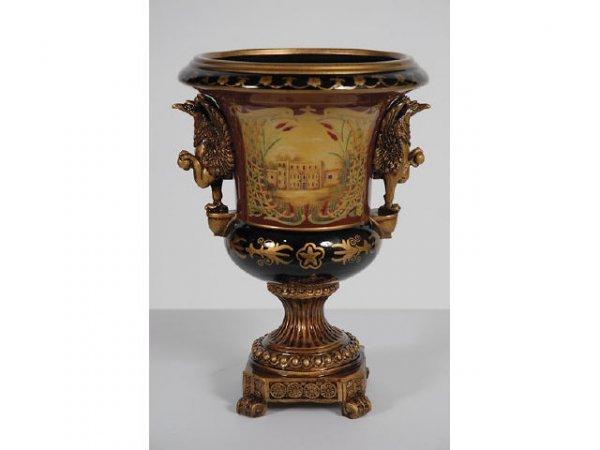 7181: Bronze Griffin Mount Porcelain Vase