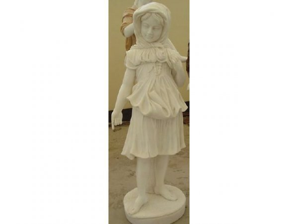 7185: Finely Carved Carrera Marble Child