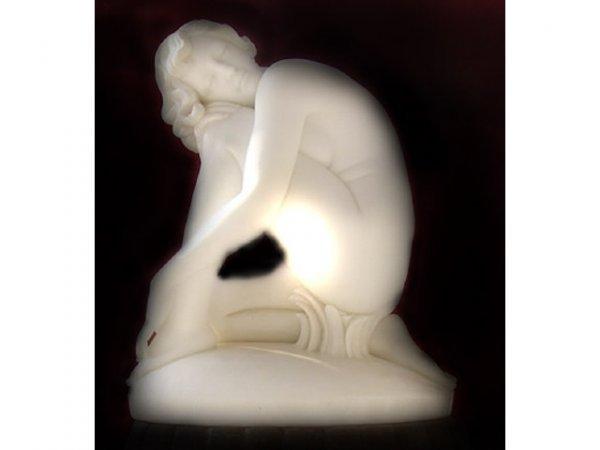 7186: Fabulous LARGE Marble Nude Deco Sculpture